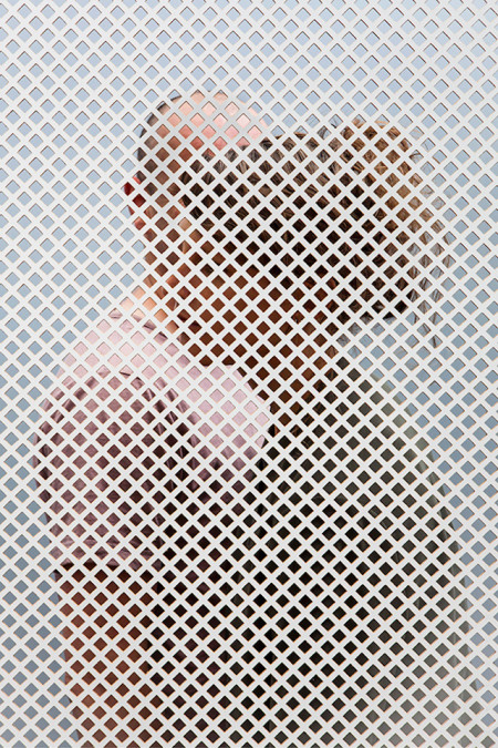 Metal Screen Material : People behind perforated screens by raw color for dutch